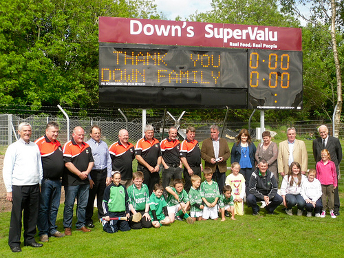 Barry Down with the Downs Supervalu sponsored scoreboard