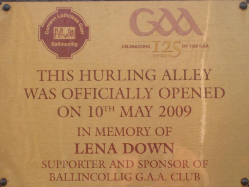 Lena Down Hurling Alley Dedication