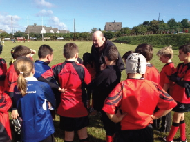 George Hook offeringhis expertise at a New Ross RFC U12s training session