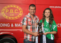 Lauren (Captain Co U14 Team) and Ian O'Leary (P.B.C. Ltd Sponsors)