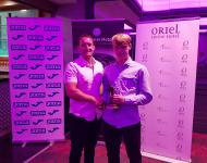 Luke Dennehy of Dennehy's Health & Fitness presents Rob Geaney-O'Brien (Cor Boys) with his CSL U15 Player of the Year trophy