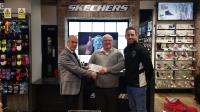 Paul Gallagher MD Skechers presenting Peter Connolly Chairman CSL with the U14 Age Group sponsorship cheque for 2016/17