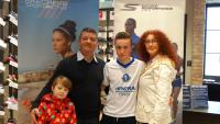 Ronan O'Brien (Blarney United) Skechers CSL U14 Player of the Month for October with his family at Skechers Opera Lane