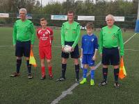 Match officials and captains for U12 SFAI Subway All Ireland semi final Cork v Cavan/Monaghan
