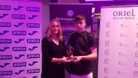 Susanne McNamara Joma Sports presents Ethon Varian (Greenwood) with his CSL U16 Player of the Year trophy