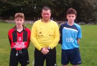 Diarmuid Sullivan (Mallow United), Daniel Daunt (Ref), Kevin Morgan (Avondale United) prior to Skechers U14D1 game