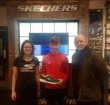 Ross Hennessy (Ringmahon Rangers) receiving his CSL SKECHERS U14 Player of the Month Award in SKECHERS OPERA LANE