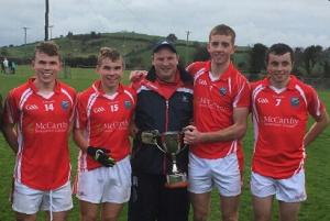 Adrigole players and trainer on Beara U16 Premier 1 County winning team 2016