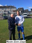 Leeds v Avondale-Pat Lyons MSL presents Leeds  Martin Cronin with the Beamish Stout man of the match award.