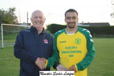 Rockmount v Leeds- Sean O'Sullivan Presents the Man of the Match award to Jordan Cuff Rockmount