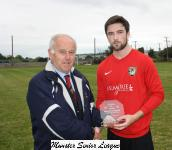 Leeside v Carrigaline Utd Sn '17-'18 Barry Gould presenting the man of match award to Dylan McNamara Leeside
