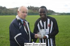Tramore Ath  v Midleton Sn- Barry Gould presenting the match of week award to Tijani Aibor Midleton .