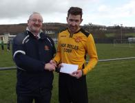 Cobh Wanderers- Brian Fitzgerald receives the man of the match award from Pat Quinn, MSL,Cobh wanderers v Wilton Utd.