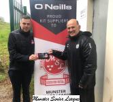 Frank O'Neill Riverstown receiving the O'Neills Club Of The Week Voucher from Barry Cotter MSL