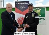 Michael Foley presents the O'Neills club of the week voucher to David O'Sullivan Park Utd.