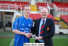 Junior League Cup Final,ringmahon Rgs B v Everton Pat Quinn MSL presents the man of the Match award to Callum O'Donoghue Everton