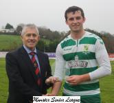 Bandon v Park Utd - John Lyne presents the man of match award to Michael Walsh Park Utd