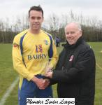 Wilton Utd v Douglas Hall-Barry Gould MSL presents the man off match award to Mark Murphy Douglas Hall