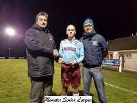 Youghal Utd v  Waterford Chrystal-John Finnigan MSL Chairman presents the man of the match award to Robert Cronin Youghal Utd
