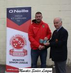 Barry Gould presenting O'Neills club of week voucher to Edward o Mahony Leeside