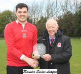 Corinthians Ath v Bandon-Tony Murphy presents the man of match award to Darren Cullen Bandon