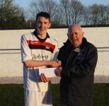 Leeside-Peadar o Leary presenting man of match award to Rory Bickerstaff Leeside v Everton Utd