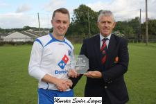 Leeds v Blarney '17-'18 - John Lyne presenting man of match award to Kenny 'O Leary Leeds