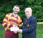 Tramore Ath v Everton Sn Barry Gould MSL presenting man of match award to Robert O'Sullivan Tramore