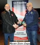 Pat Quinn presents the O'Neills Club of the week voucher to Ken Dennehy Carrigaline Utd