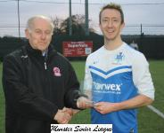 Kinsale v Mallow-Barry Gould MSL presents the man of match award to Daniel Serls Kinsale
