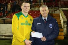 Rockmount -  Jamie Murphy receives the Beamish Stout man of the match award from John Lynn MSL - Rockmount V Mayfield  Utd