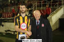 Keane cup Final Cobh Wanderers v Castleview Tony Murphy MSL President, presents  man of match award to Brendan Frahill Cobh  Wds