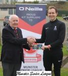 Peadar O'Leary presents the O'Neils Club of week voucher to Charlie Bornemamn UCC
