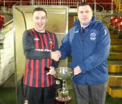 Alex Ahern Receiving Junior League Cup from Barry Cotter MSL