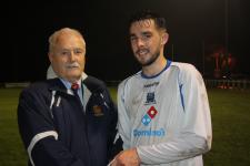Midleton v Leeds-Michael Foley MSL, presenting man of match ward to Jordan Murphy Leeds.
