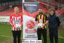 Pre-Keane Cup Alan O'Donoughue O'Neills sport presents match balls to the captains of Castleview and Cobh Wanderers