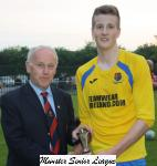 Barry Gould MSL Presents the Pop Keller cup man of match award to Andy Daunt Carrigaline
