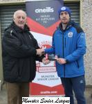 Sean O'Sullivan presents the O'Neills Club of the week voucher to Dan Ahern Crosshaven AFC