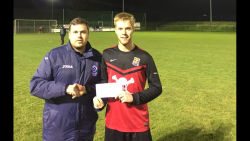St.Mary's v UCC - Barry Cotter MSL presents the man of the match award to UCC's Shane Daly-Butz