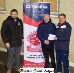 Thomas Clohessey Chairman Youghal Utd receives the O'Neills Club Of The Week Voucher from Frank Murphy O'Neills & John Finnegan