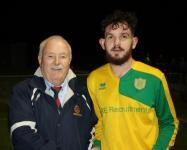 Castleview v Rockmount-Michael Foley MSL, presenting the man of match award to Danny Aherne Rockmount