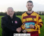 Casement Celt v Tramore Ath-Leslie Doyle presenting man of match award to Patrick Horgan Tramore Ath