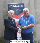 Barry Gould MSL presenting the O'Neill's Club of the week voucher to John Leonard Wilton Utd