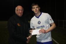 Blarney Utd v Carrigaline Utd, Donal Lenihan MSL presents the Man of the Match award to Martin O'Sullivan Blarney Utd