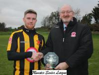 Cobh Wanderers v Ringmahon Rgs-Pat Quinn MSL presents the man of the match award to Jason Abbott Cobh Wanderers