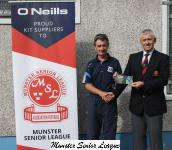 John Lyne presenting O'Neills Club of the week voucher to Michael Hourihan Leeds.