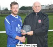 Fermoy v Bandon-Sean O'Sullivan MSL presents the man of match award to Kevin Dolan Fermoy
