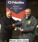 Pat Lyons Presents the O'Neill's club of the week voucher to James Corcoran, Chairman Rockmount