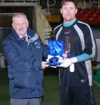 Leslie Doyle presenting the Keane Cup Man of the Match Award to Adrian O'Donnell Douglas hall ,  Douglas Hall V Rockmount AFC