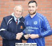 Everton v Fermoy Pat Lyons Presenting man of match award to David O'Shaughnessy Everton